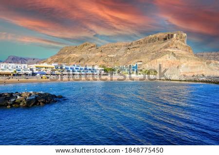 Puerto Mogan - beautiful scenery at coast of Gran Canaria - Canarian Islands of Spain #1848775450