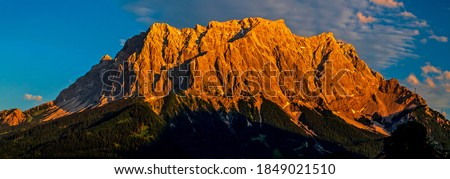 Mountain peak range sunset panorama. Mountain ridge landscape. Mountainous ridge panorama. Mountain ridge panorama. Mountain ridge view #1849021510