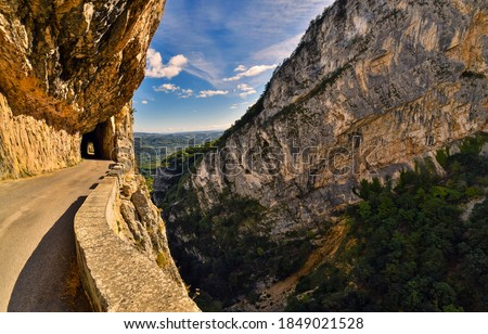 Mountain tunnel road. Tunnel road in mountains. Mountain road tunnel view. Mountain tunnel road view #1849021528