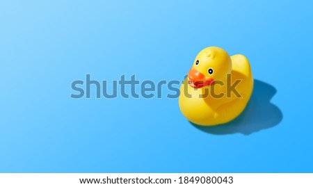 Isolated yellow rubber duck on a blue background. Copy space Royalty-Free Stock Photo #1849080043