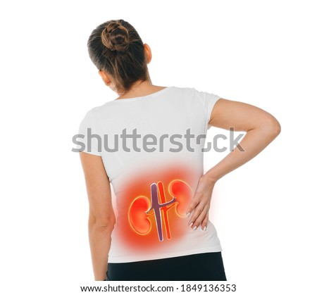 Woman has acute pain in the kidneys. Treatment of chronic kidney disease, pyelonephritis, urolithiasis, inflammation, renal failure. Isolated on white Royalty-Free Stock Photo #1849136353