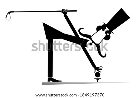 Cartoon long mustache plays golf illustration. Funny long mustache man in the top hat holds a golf club and puts a ball on the stand black on white