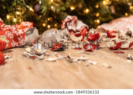Broken and wrecked Christmas ornaments Royalty-Free Stock Photo #1849336132