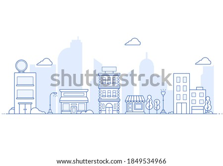Thin line City landscape. Downtown landscape with high skyscrapers. Panorama architecture City landscape template. buildings and store, shop Isolated outline illustration. Royalty-Free Stock Photo #1849534966