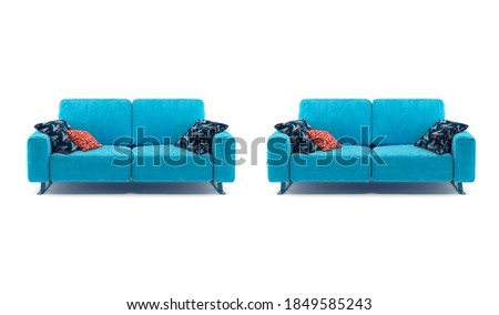 Background of a blue cushions sofa with three pillows. #1849585243