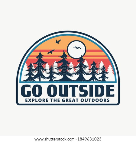 Mountain illustration, outdoor adventure. Vector badge design for t-shirt prints, posters, and other uses. Royalty-Free Stock Photo #1849631023