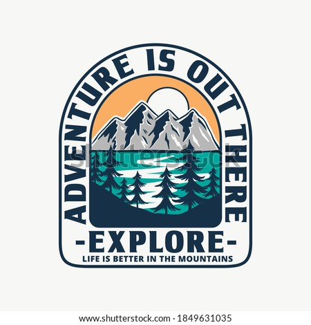Mountain illustration, outdoor adventure. Vector badge design for t-shirt prints, posters, and other uses. Royalty-Free Stock Photo #1849631035