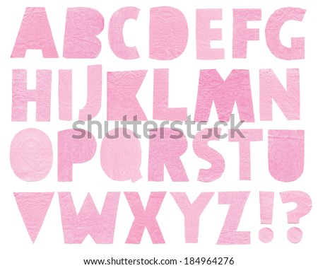 Paper letters. Latin alphabet on a white background. Handmade