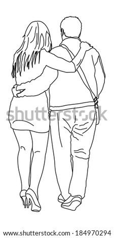 Happy couple walking, vector isolated on white background. Cartoon illustration.  #184970294