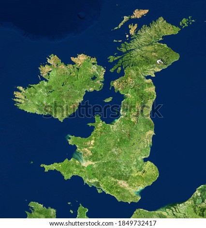 UK map in satellite photo, England terrain view from space. Physical topographic map of Great Britain and Ireland islands. Detailed photography of United Kingdom. Elements of image furnished by NASA. Royalty-Free Stock Photo #1849732417