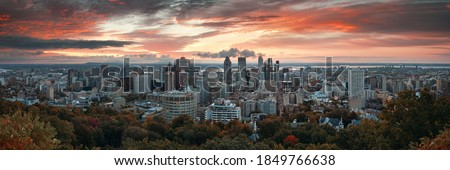 Montreal sunrise city skyline panorama with skyscraper in Canada