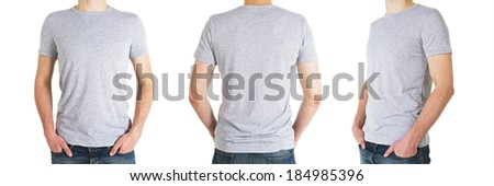 three man in gray t-shirt on a white background #184985396