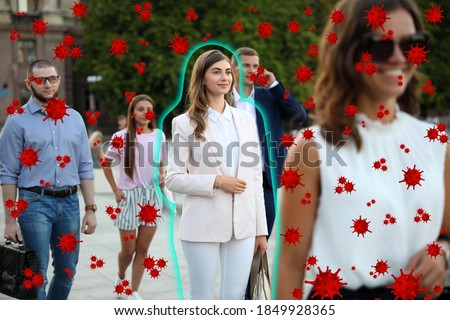Stronger immunity - better disease resistance. Young healthy woman surrounded by viruses in crowd Royalty-Free Stock Photo #1849928365