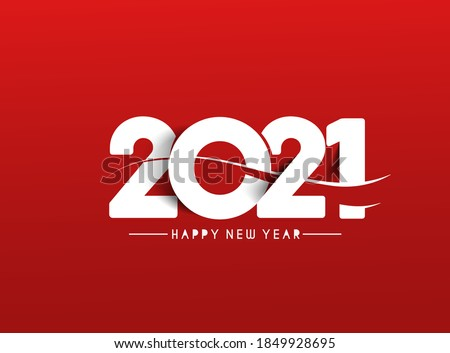 Happy New Year 2021 Text Typography Design Patter, Vector illustration. #1849928695