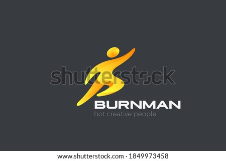 Superman Businessman Logo Sport Flying abstract character design vector template.