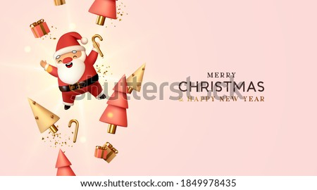 Christmas and New Year background. Falling gift box realistic character 3d santa claus. Conical Abstract Gold Christmas Trees. Xmas Winter holiday composition. Greeting card, banner, web poster. #1849978435