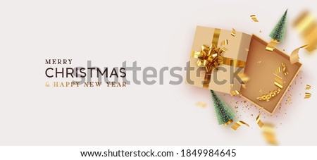 Christmas and New Year's gift. Empty Open gift box template. Xmas design Realistic decorative objects. Sale banner, surprise poster, flyer and brochure. mock up holiday. Vector flat lay, top view #1849984645