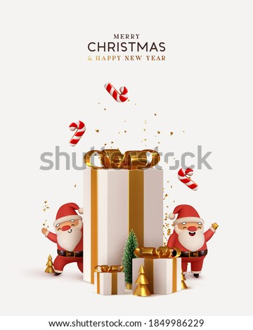Christmas and New Year background. Pile gift box realistic 3d santa claus. Xmas pine fir lush tree. Conical Abstract Gold Christmas Trees. Winter holiday composition. Greeting card, banner, web poster #1849986229
