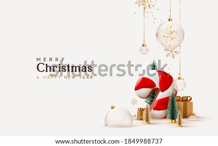 Christmas and New Year background. Xmas pine fir lush tree. Candy cane from cookies, golden gifts box. Glass Balls hanging on ribbon. Bright Winter holiday composition. Greeting card, banner, poster