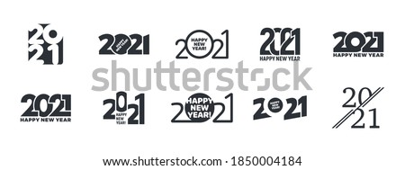 2021 Happy New Year Logo Vector Different Text Design Templates Collection Isolated On White Background. Variations Of Happy New Years Typographic Design Elements Royalty-Free Stock Photo #1850004184
