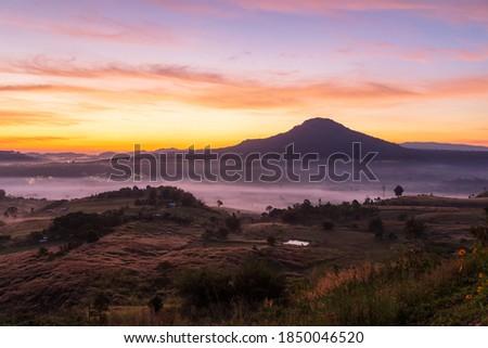 Top views landscape with the mist at Khao Ta Kean Ngo, Khao Kho District, Phetchabun, Thailand Royalty-Free Stock Photo #1850046520