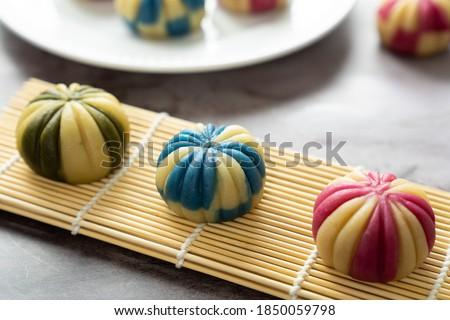 Japanese traditional confectionery cake wagashi or temari mooncake Royalty-Free Stock Photo #1850059798