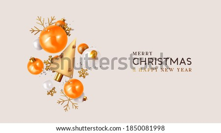 Merry Christmas and Happy New Year. Xmas Festive background with realistic 3d object, orange and white bauble balls, conical metal christmas tree. Gold snowflake. Levitation falling design compositio #1850081998