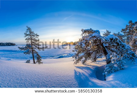 Winter snow nature morning landscape. Sunrise winter snow nature. Snowy winter nature sunrise landscape. Winter sunrise nature snow #1850130358