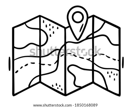 Hand drawn map for traveling with geotag in doodle style. Folded paper map with a route and map pointer, GPS location symbol. Black contours isolated on a white background. Map for camping, hiking.
