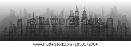 Modern architecture city skyscraper abstract of building architectural art. Future architectural landmarks in cityscape on white background. Panorama view capital. Vector illustration halftone. Royalty-Free Stock Photo #1850172904