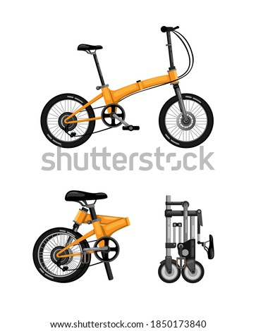 Folding bike, foldable bicycle symbol icon set concept in cartoon realistic illustration vector on white background