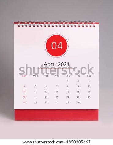 Simple desk calendar for April 2021 Royalty-Free Stock Photo #1850205667