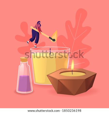 Tiny Female Character Burning Huge Wax or Paraffin Aromatic Candles for Aroma Therapy and Relaxation. Cute Hygge Home Decoration, Holiday Decorative Design Element for Spa. Cartoon Vector Illustration Royalty-Free Stock Photo #1850236198