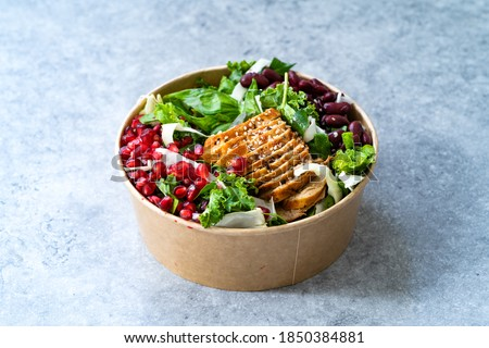 Healthy Food Bowl with Pomegranate, Chicken, Mexican Kidney Beans and Salad in Plastic Bowl Container. Royalty-Free Stock Photo #1850384881