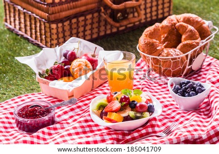 Healthy vegetarian or vegan picnic with a delicious spread of fresh fruit, golden croissants, berry jam and tropical fruit salad on a red and white tablecloth alongside a hamper on green grass #185041709