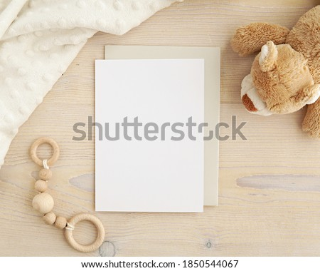 Blank card mockup and envelope for baby shower invitation, greeting card design, nursery art mock up. Royalty-Free Stock Photo #1850544067