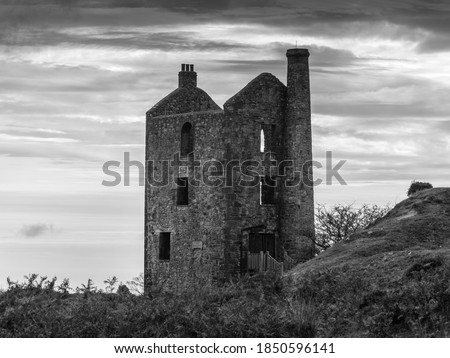 black and white Phoenix Tin Mine Engine House In Minions Bodmin Cornwall