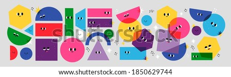 Big Set of Various bright basic Geometric Figures with face emotions. Different shapes. Hand drawn trendy Vector illustration for kids. Cute funny characters. All elements are isolated Royalty-Free Stock Photo #1850629744