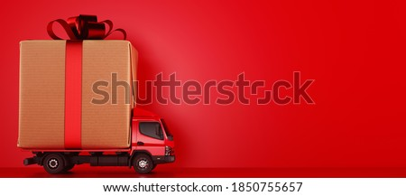 Big Christmas gift packages on a red truck ready to be delivered #1850755657