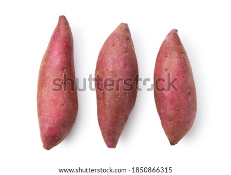 A sweet potato placed on a white background. A view from above. Royalty-Free Stock Photo #1850866315