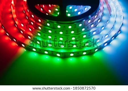 multicolor rgb led light strip roll Royalty-Free Stock Photo #1850872570