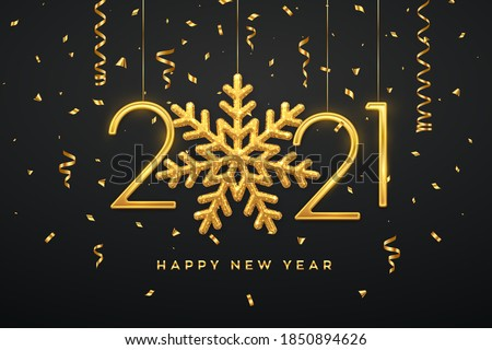 Happy New 2021 Year. Hanging Golden metallic numbers 2021 with shining snowflake and confetti on black background. New Year greeting card or banner template. Holiday decoration. Vector illustration. #1850894626
