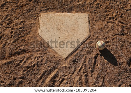 Baseball near Home Plate with Room for Copy Royalty-Free Stock Photo #185093204