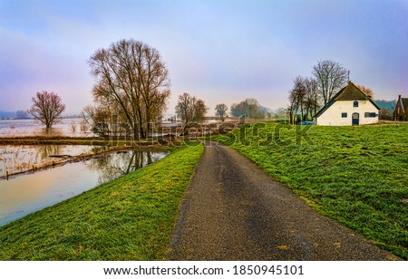 Rural country village road view. Countryside road view. Road in countryside. Rural countryside road #1850945101