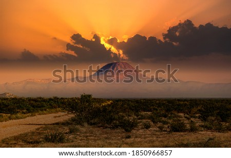 Mountain peak, sky clouds, sunset landscape. Sunset mountain peak landscape #1850966857