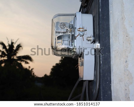 Watthour meter of electricity for use in home appliances with copy space.
