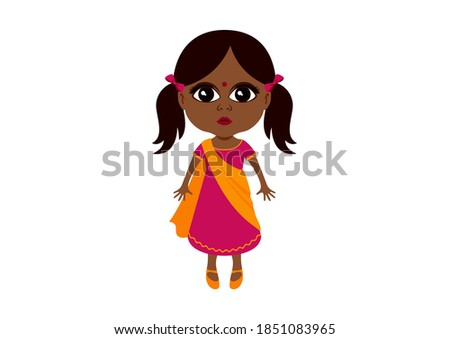Cute little indian girl in traditional dress icon. Adorable indian baby girl in sari clip art. Beautiful little ethnic girl icon isolated on a white background. Little girl with big brown eyes icon