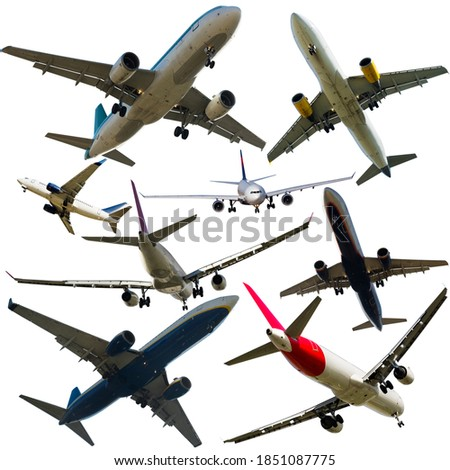 Airplanes flying, collection isolated on white background. High quality photo #1851087775