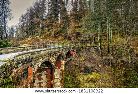 Forest stone bridge in autumn. Autumn forest bridge. Bridge in forest. Stone bridge in autumn forest #1851108922