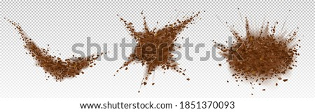 Coffee beans explosion, ground arabica powder with particles. Vector realistic illustration of shredded roasted coffee splash with grain pieces and brown dust isolated on transparent background Royalty-Free Stock Photo #1851370093
